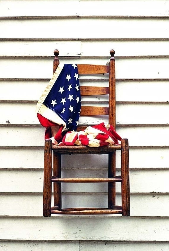 American flag photography, Still life, Americana art, Memorial Day, patriotic print - American Chair - Fine Art Photography - 8x10