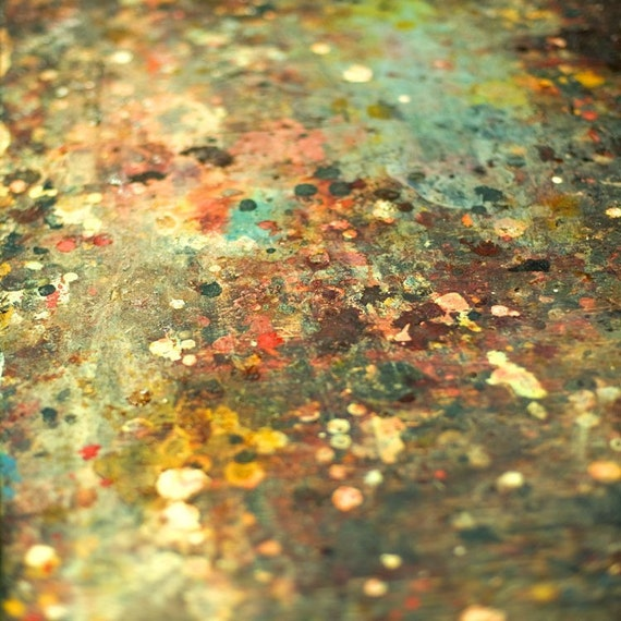 Modern home decor - still life photography - teal turquoise mustard yellow abstract paint splatter artist's table fine art photograph 16x16