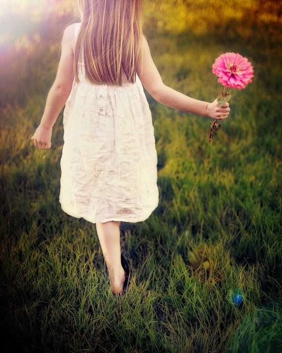 Whimsical photography, portrait or a girl, flower photograph, pink daisy - The Farmer's Daughter - fine art photography, Whimsical Decor
