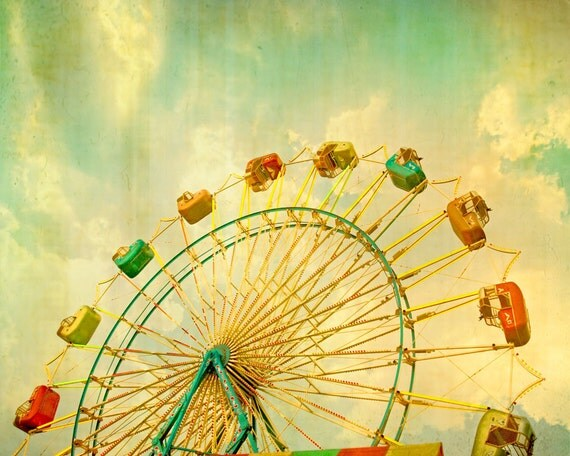 Carnival Photography, kids room art, Circus Print, Ferris Wheel, Carnival Decor, baby room mint green nursery wall art - Grand Wheel