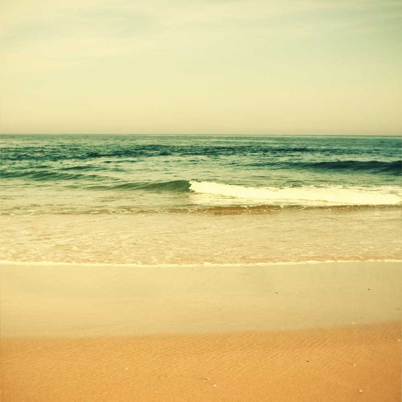 Beach photography, landscape photograph, ocean art, summer cottage cream olive peach coral pink tones nature photo water seaside bliss - 8x8