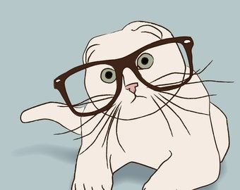 srsly 8x10 print kitty with glasses has questions for you