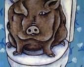 Pot Belly Pig in the Bathroom Animal Art Tile Coaster Gift JSCHMETZ modern abstract folk pop art AMERICAN ART gift