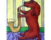 Dachshund Playing a Saxophone Dog Art Print