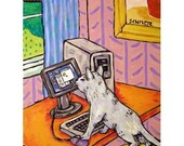 Grey Cat Working from home Animal Art Print