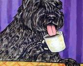 Bouvier Des Flandres at the Coffee Shop Cafe Dog Art Tile Coaster Gift