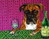 Boxer wine bar art decor dog print chardonay