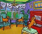 Border Terrier Piano Concert Dog Art Tile Coaster