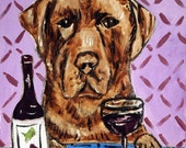 Chocolate Lab at the Wine Bar Dog Art Print  JSCHMETZ modern abstract folk pop art AMERICAN ART gift