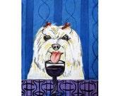 Maltese , maltese art , maltese print,  print, wine, wine art , wine print, maltese gift, modern folk art
