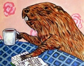 Beaver, beaver print, beaver art, ceramic coaster, tile, modern folk art, coffee, cafe decor, modern folk, beaver gift, coffee print