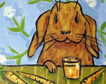 Bunny Rabbit Drinking Carrot Juice Animal Art Tile Coaster