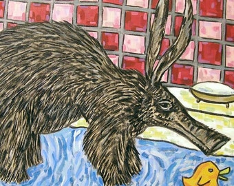 Aardvark Taking a Bath Animal Art Tile Coaster