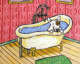Bull Terrier Taking a Bath Dog Art Tile Coaster Gift