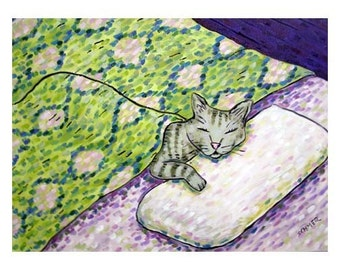 Grey Cat Sleeping Art Print