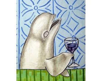 Beluga Whale at the Wine Bar Art Print