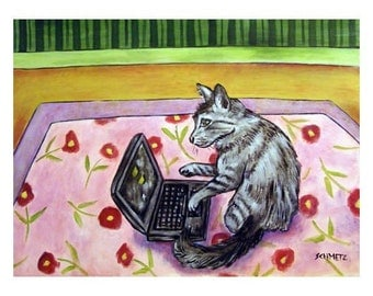 Grey Cat Working on a Computer Art Print