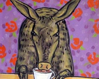 Aardvark at the Coffee Shop Art Tile