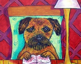 Border Terrier Reading a Book Dog Art TIle Coaster