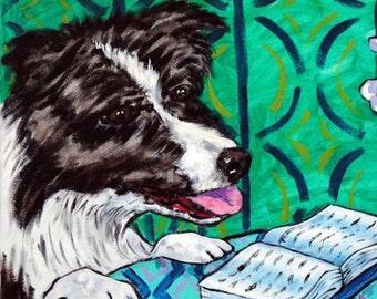 Border Collie Reading Dog Art Tile