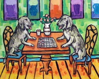 Irish Wolfhounds Playing Checkers Dog Art TILE Coaster Gift JSCHMETZ modern abstract folk pop art american ART gift