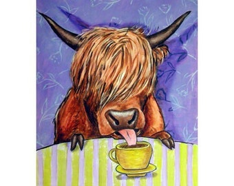 Scottish Highland Cow at the Coffee Shop Art Print
