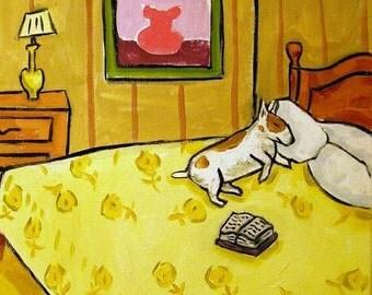 Bull Terrier Sleeping Dog Art Tile Coaster JSCHMETZ modern abstract folk pop art american ART gift