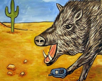 javelina Talking on a Cell Phone Art Tile Coaster