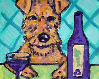 Irish Terrier at the Wine Bar Dog Art TIle