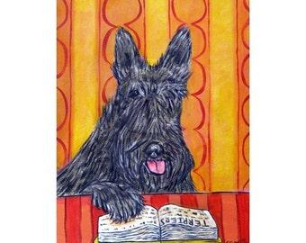 Scottish Terrier Reading a Book Dog Art Print