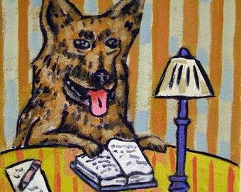 German Shepherd Reading Dog Art Tile Coaster Gift  JSCHMETZ modern abstract folk pop art AMERICAN ART gift