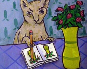 Gray Cat Artist Animal Art Tile Coaster Gift