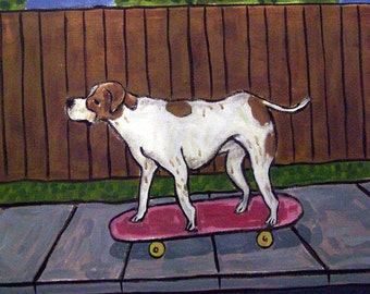 Pointer Riding a Skateboard Dog Art Tile Coaster