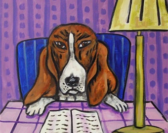 Basset Hound dog art tile coaster at the library