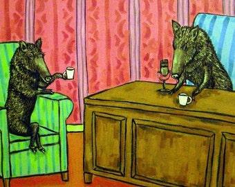 Javelina Talk Show Animal Art Tile Coaster Gift