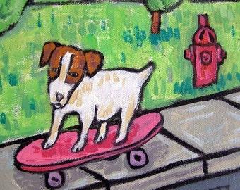 Jack Russell Terrier Skateboarding Dog Art Tile JSCHMETZ modern abstract folk pop art AMERICAN ART gift