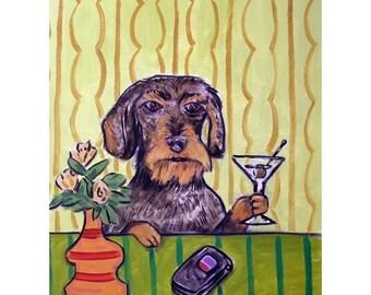 Dachshund Having a Martini Dog Art Print