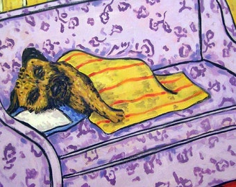 Border Terrier Taking a Nap Dog Art tile Coaster Gift