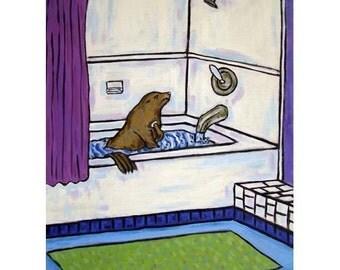 Sea Lion Taking a Bath Animal Bathroom Art Print 8x10