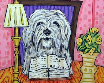 Havanese , dog tile, havenese tile, library art, dog art folk art, pop art, dog,