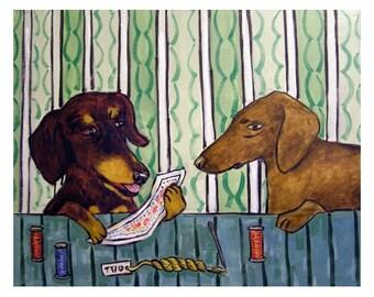 Dachshund - dachshund print, dachshund art, gift, modern folk art, needlepoint,print, poster,dog,dog art,dog print 11x14 print