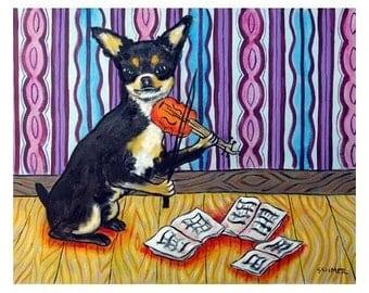 Chihuahua Playing the Violin Dog Art Print