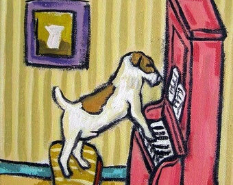 Jack Russell Terrier Playing the Piano Dog Art Tile Coaster