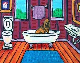Bloodhound Taking a Bath Dog Art Tile Coaster Gift