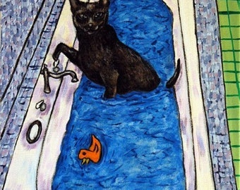 Bombay Cat Taking a Bath Art Tile