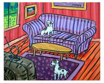 Jack Russell Terriers Watching Television Dog Art Print