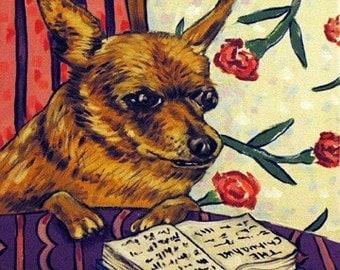 Chihuahua Reading a Book Dog Art Tile Coaster Gift JSCHMETZ americanmodern POP ART folk abstract