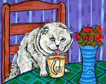 Scottish Fold at the Coffee Shop Cat Art Tile Coaster Gift