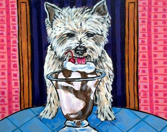 West Highland White Terrier dog tile coaster art gift ice cream