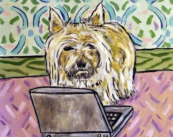Cairn Terrier Working on a Computer Dog Art Tile